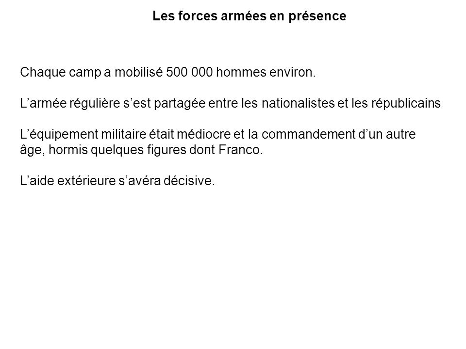 Les forces armées en présence