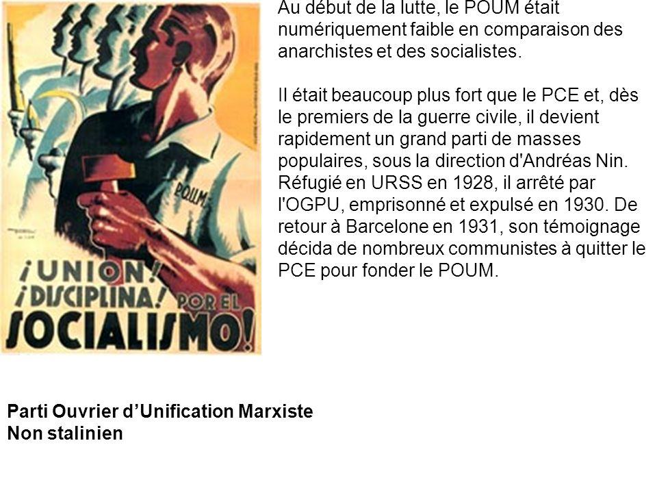 Au début de la lutte, le POUM était numériquement faible en comparaison des anarchistes et des socialistes.