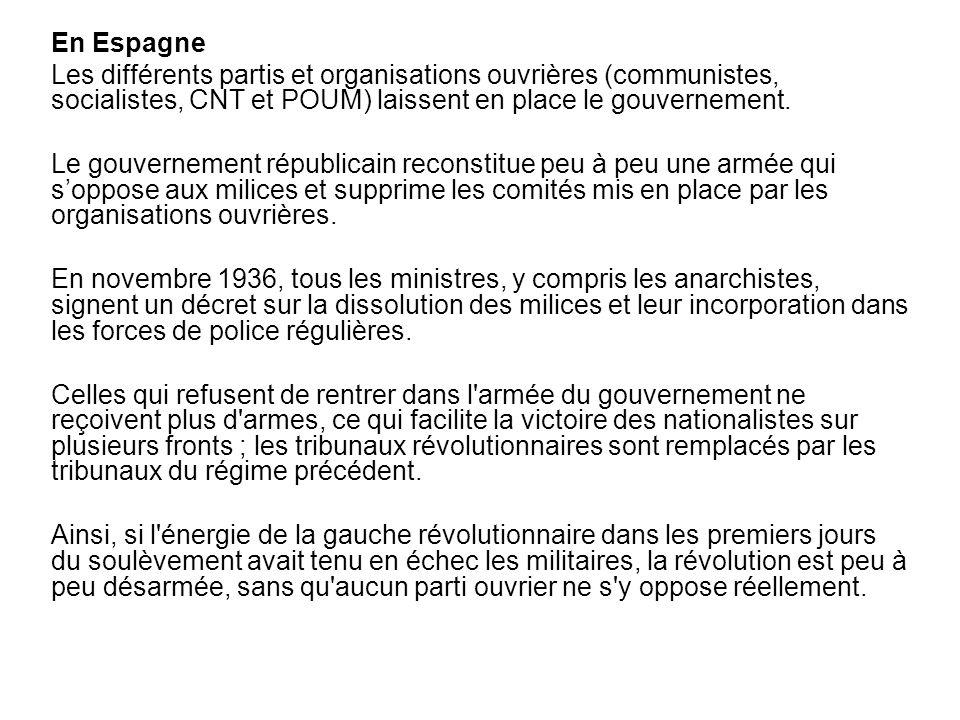 En Espagne Les différents partis et organisations ouvrières (communistes, socialistes, CNT et POUM) laissent en place le gouvernement.