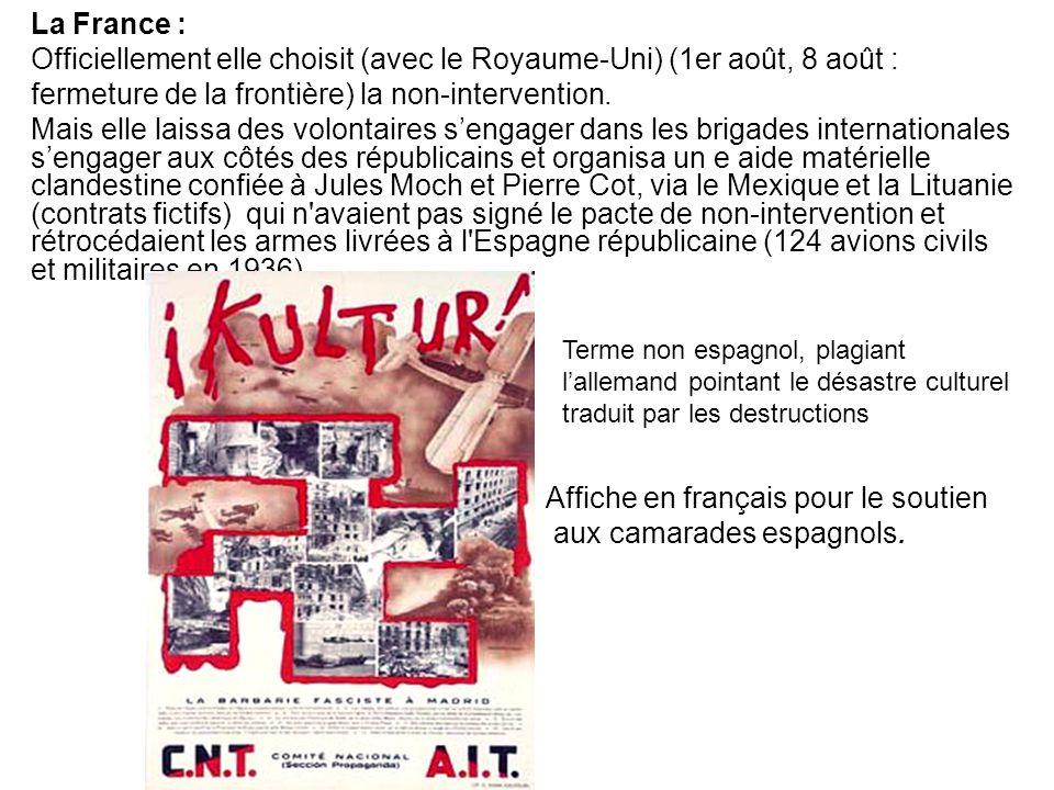 Affiche en français pour le soutien aux camarades espagnols.
