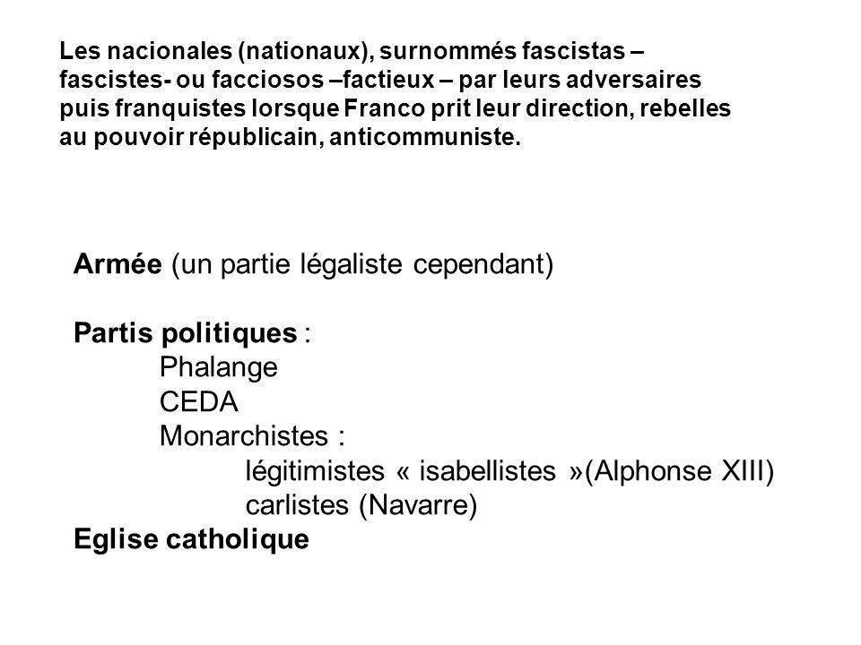 Armée (un partie légaliste cependant) Partis politiques : Phalange