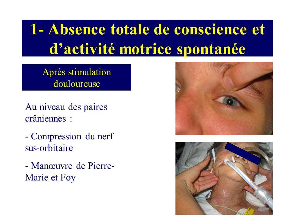 1- Absence totale de conscience et d'activité motrice spontanée