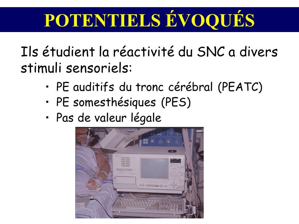 POTENTIELS ÉVOQUÉS Ils étudient la réactivité du SNC a divers stimuli sensoriels: PE auditifs du tronc cérébral (PEATC)