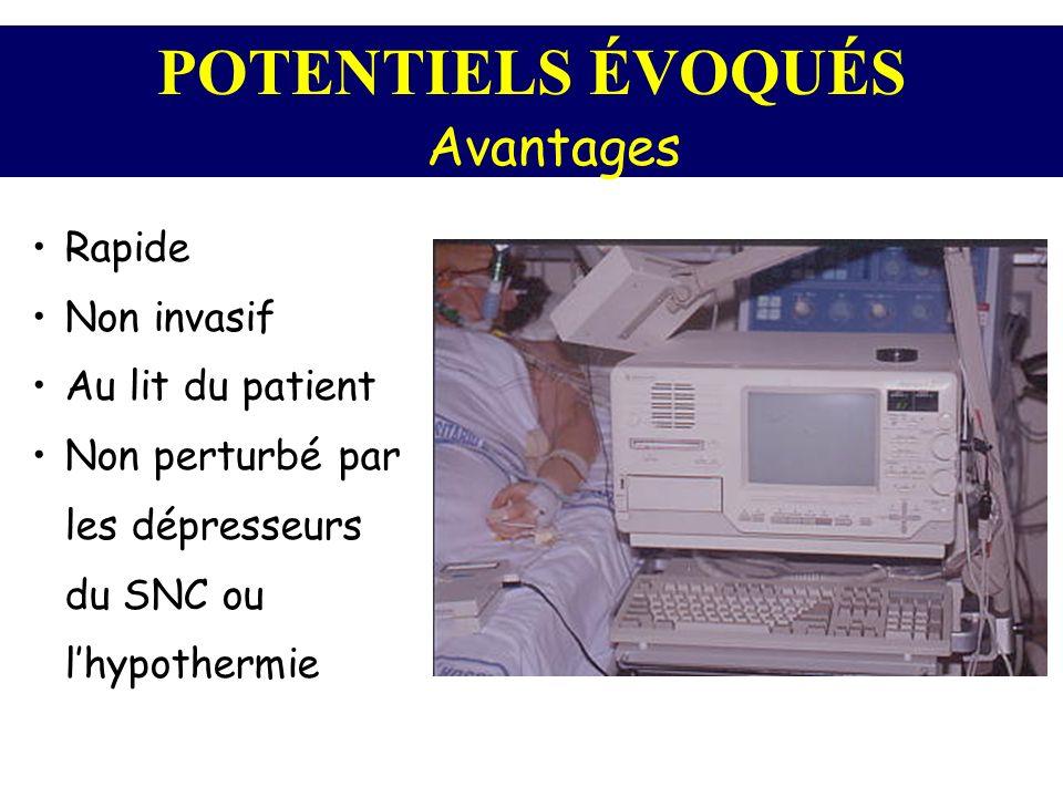 POTENTIELS ÉVOQUÉS Avantages Rapide Non invasif Au lit du patient