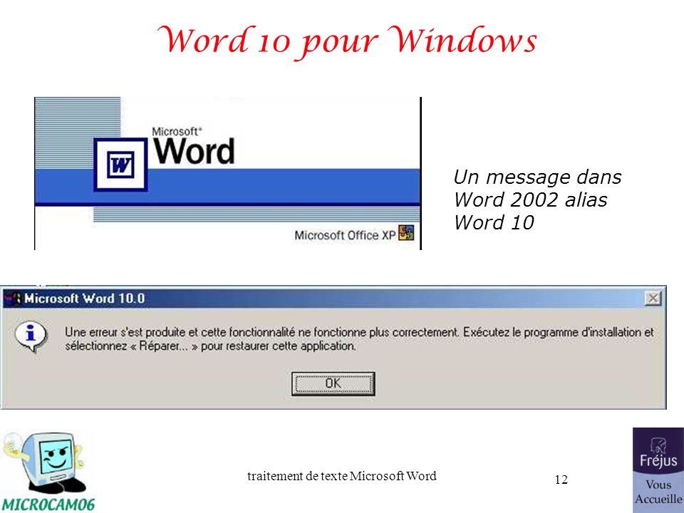 Word 10 pour Windows Un message dans Word 2002 alias Word 10