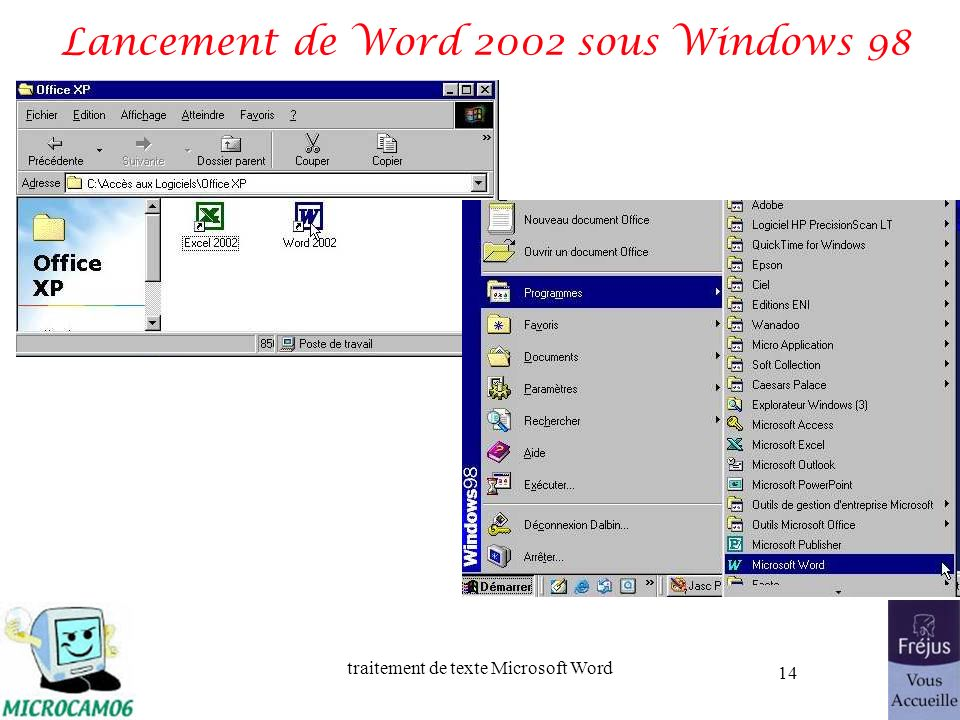 Lancement de Word 2002 sous Windows 98