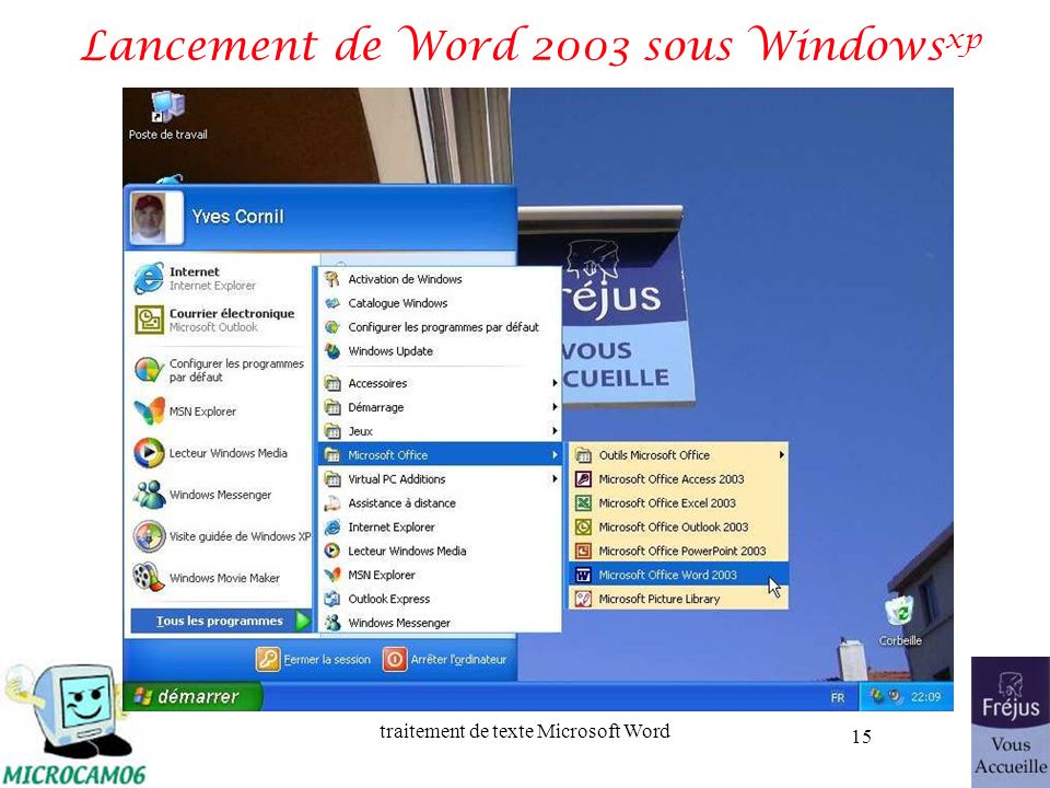 Lancement de Word 2003 sous Windowsxp