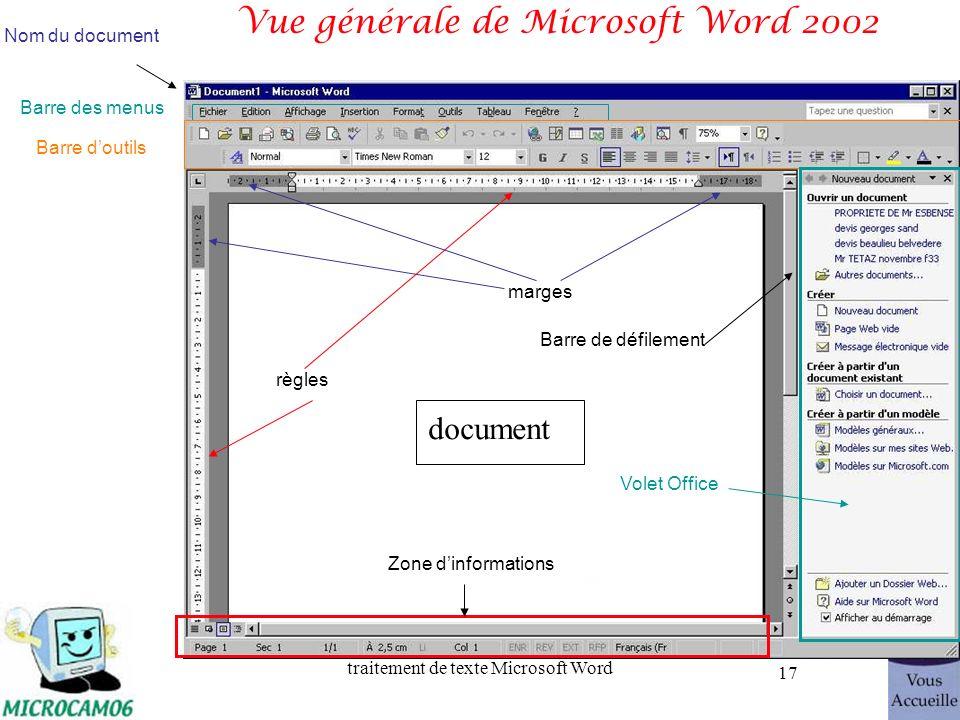 Vue générale de Microsoft Word 2002
