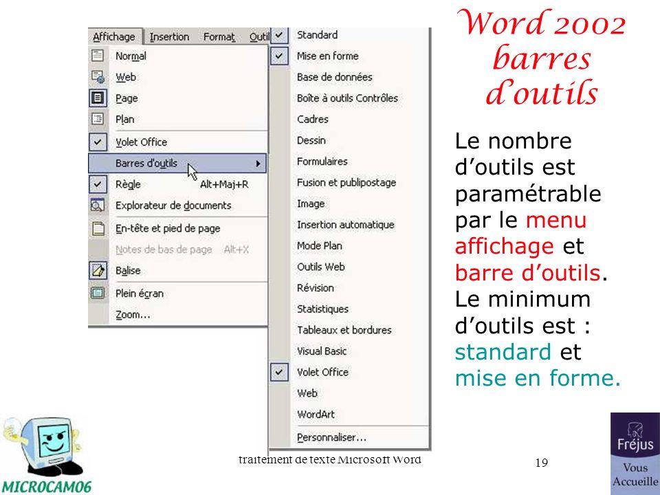 Word 2002 barres d'outils Le nombre d'outils est paramétrable par le menu affichage et barre d'outils.