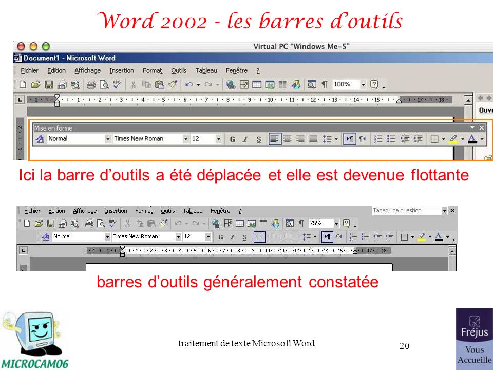 Word 2002 - les barres d'outils