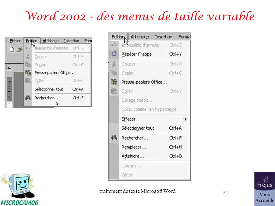 Word 2002 - des menus de taille variable