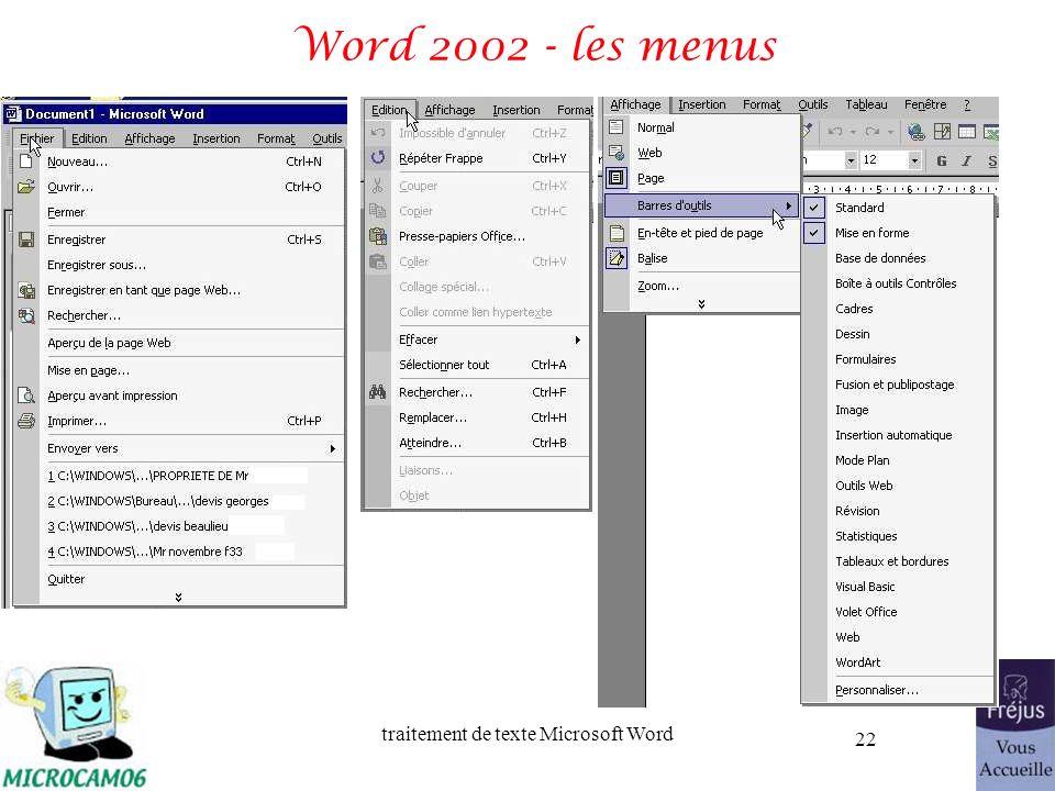 Word 2002 - les menus