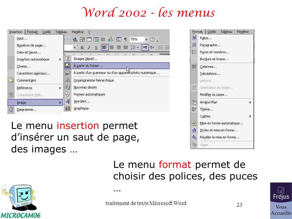 Word 2002 - les menus Le menu insertion permet d'insérer un saut de page, des images … Le menu format permet de choisir des polices, des puces …