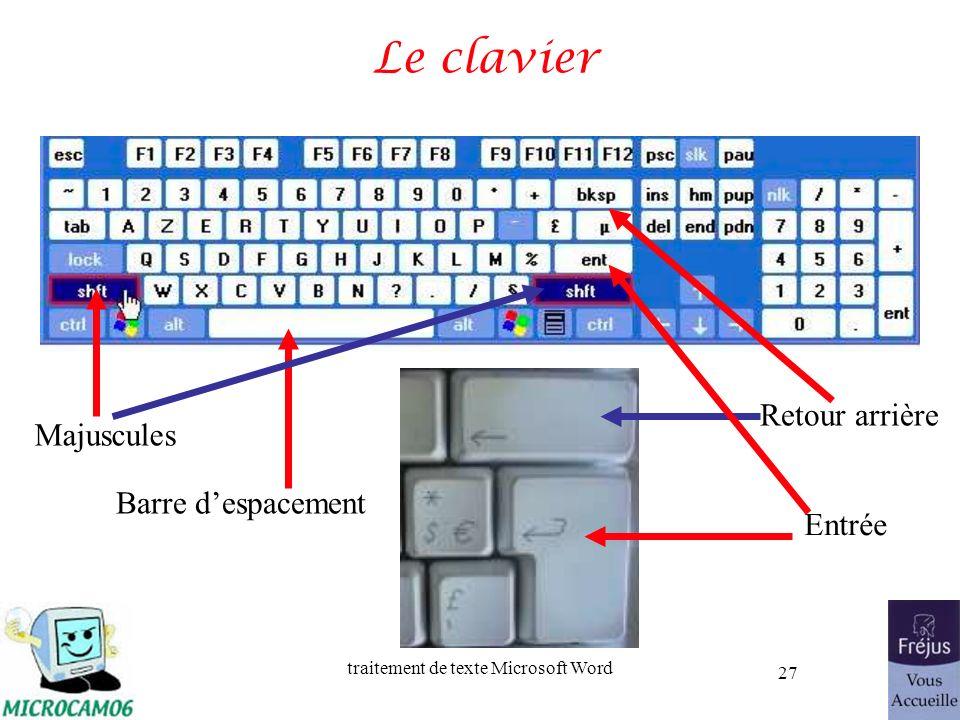 Le clavier Retour arrière Majuscules Barre d'espacement Entrée