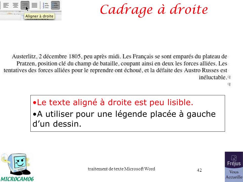 Cadrage à droite Le texte aligné à droite est peu lisible.