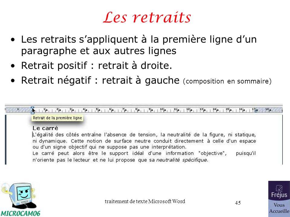 Les retraits Les retraits s'appliquent à la première ligne d'un paragraphe et aux autres lignes. Retrait positif : retrait à droite.