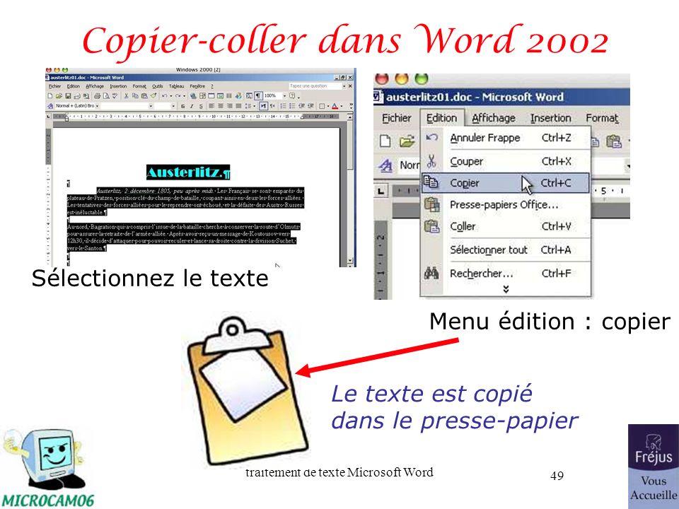 Copier-coller dans Word 2002