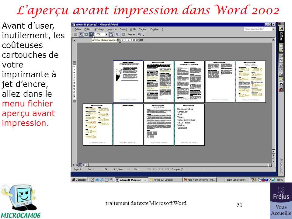 L'aperçu avant impression dans Word 2002