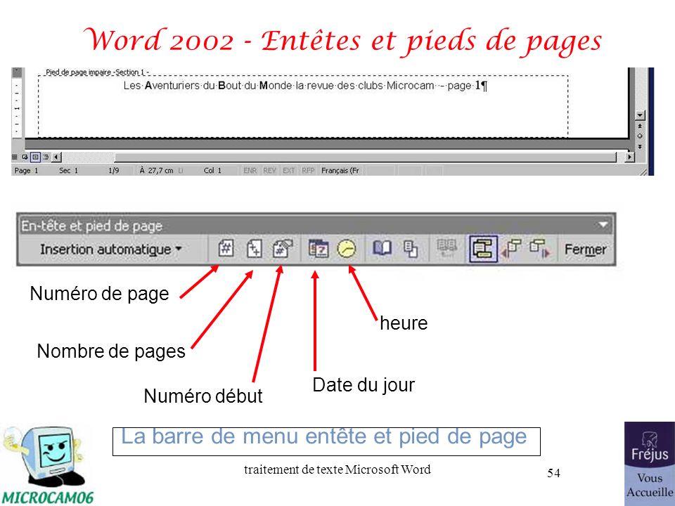 Word 2002 - Entêtes et pieds de pages