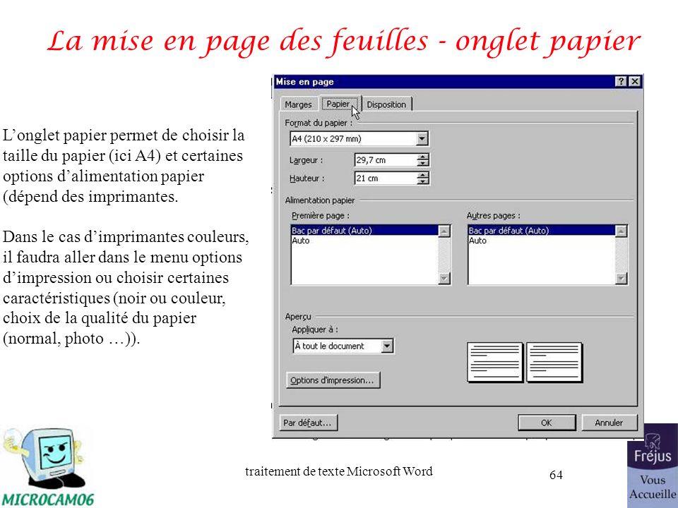 La mise en page des feuilles - onglet papier