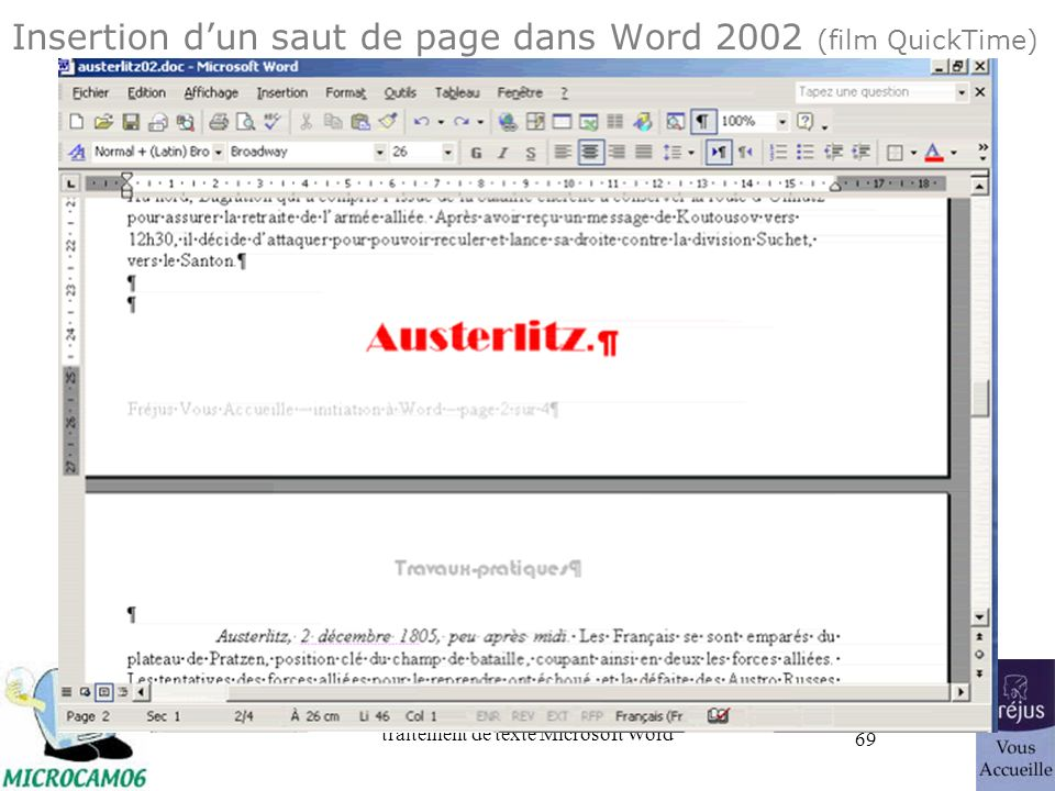 Insertion d'un saut de page dans Word 2002 (film QuickTime)