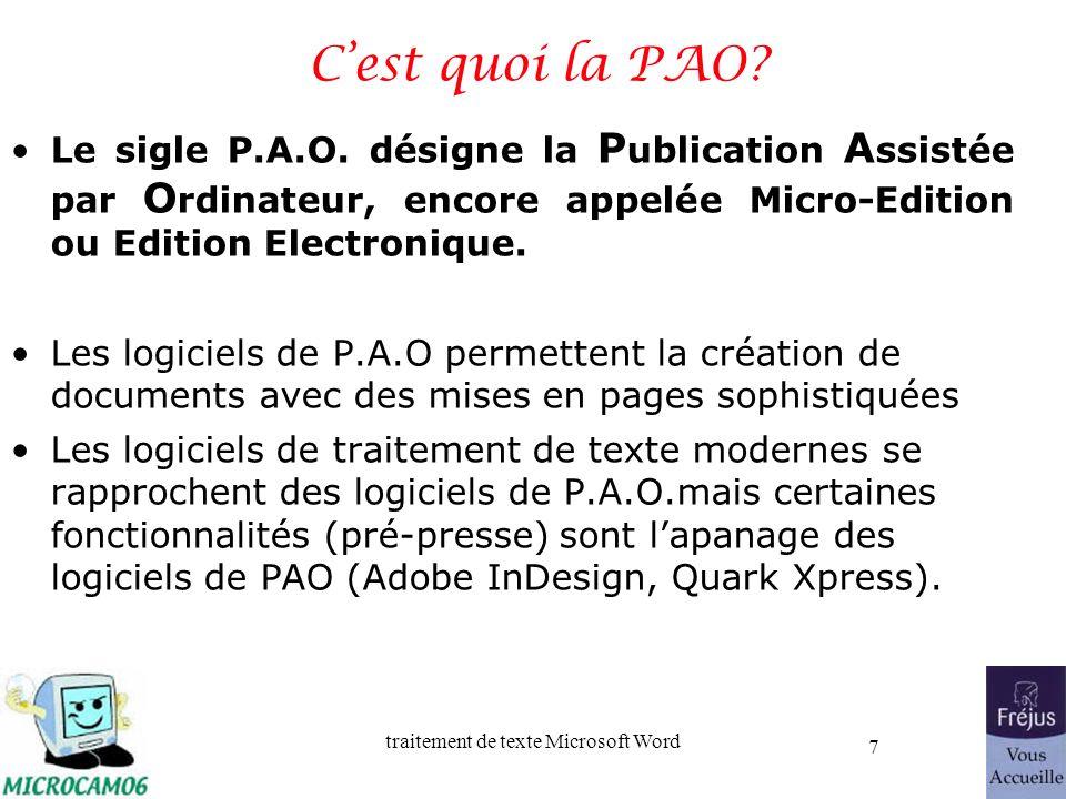 C'est quoi la PAO Le sigle P.A.O. désigne la Publication Assistée par Ordinateur, encore appelée Micro-Edition ou Edition Electronique.