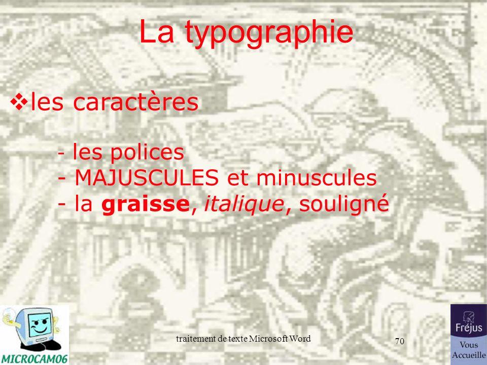 La typographie les caractères - les polices - MAJUSCULES et minuscules - la graisse, italique, souligné.