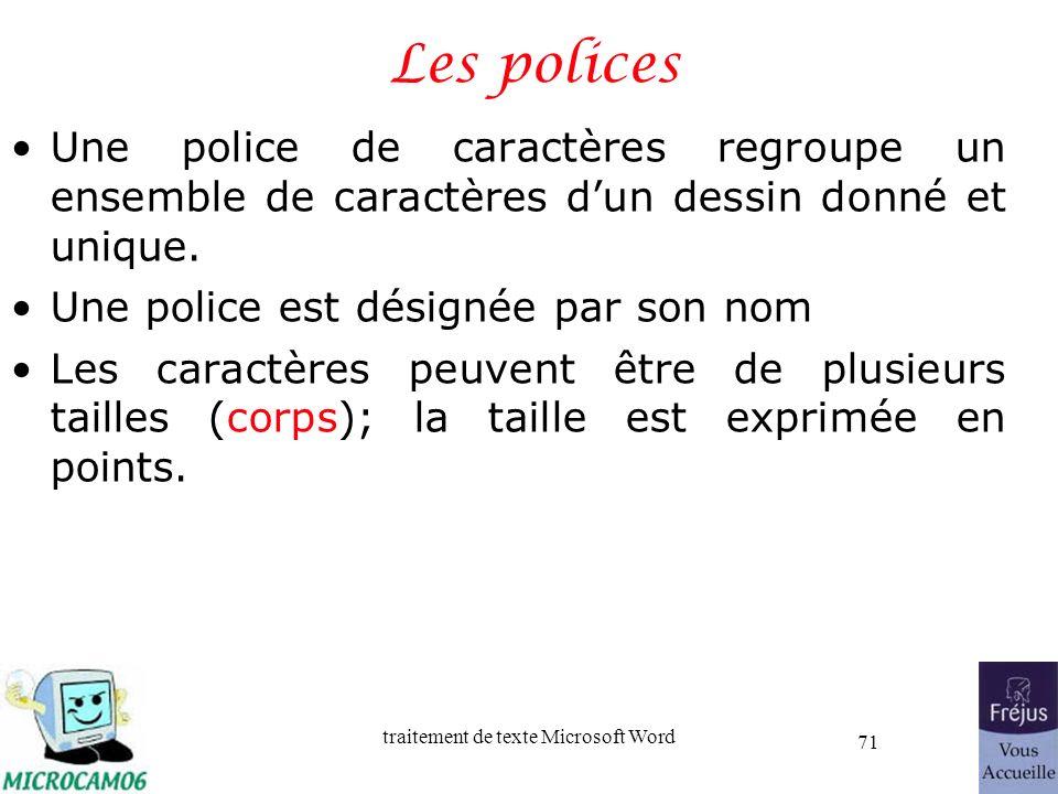 Les polices Une police de caractères regroupe un ensemble de caractères d'un dessin donné et unique.