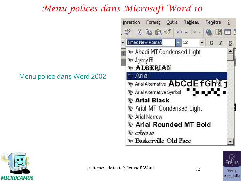 Menu polices dans Microsoft Word 10