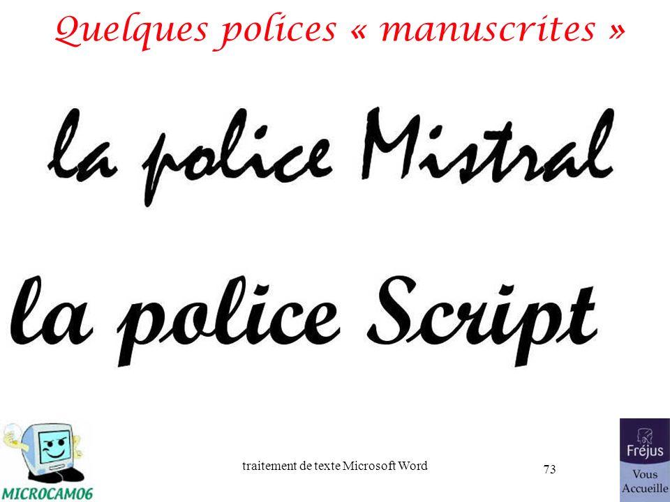 Quelques polices « manuscrites »