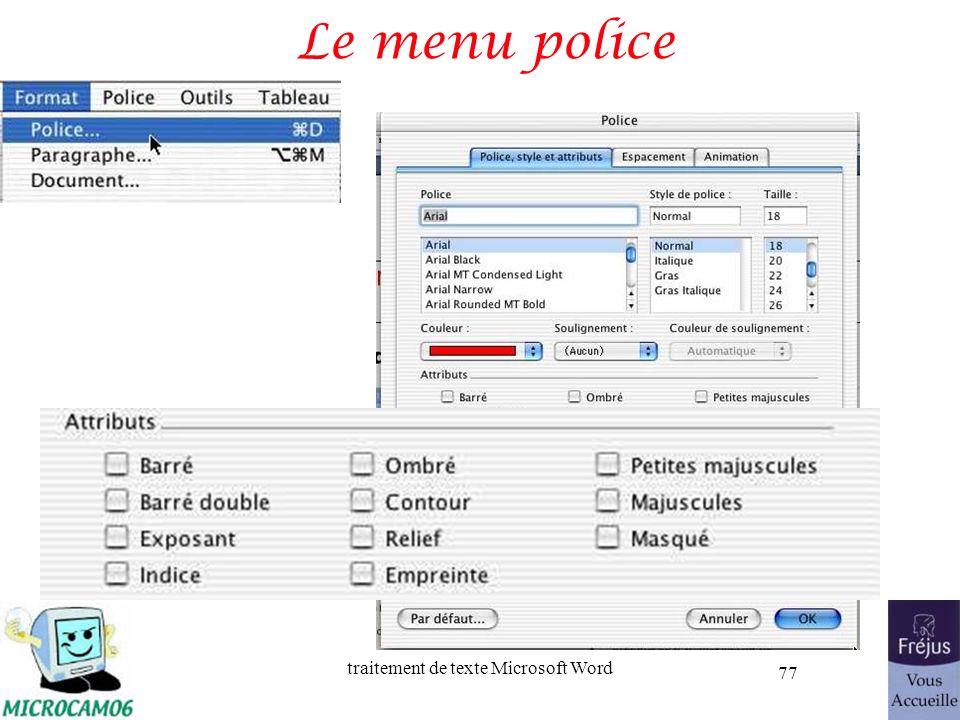 Le menu police