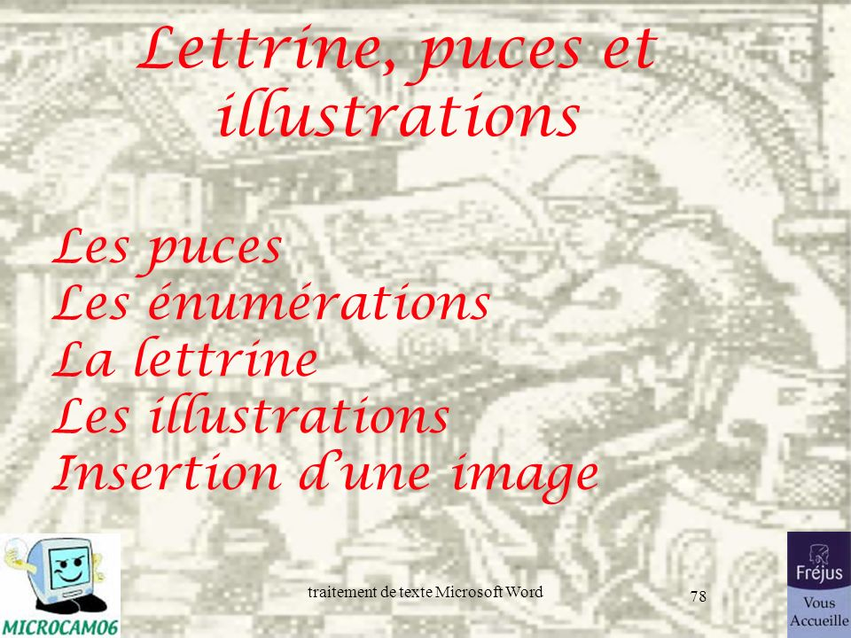 Lettrine, puces et illustrations