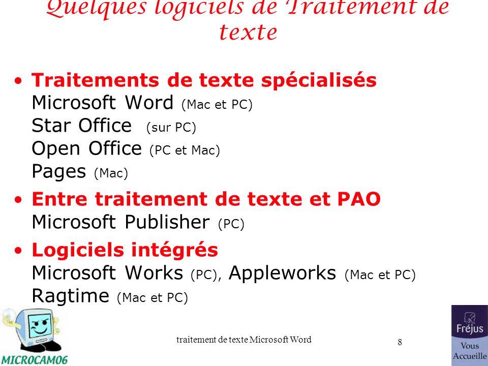 Quelques logiciels de Traitement de texte