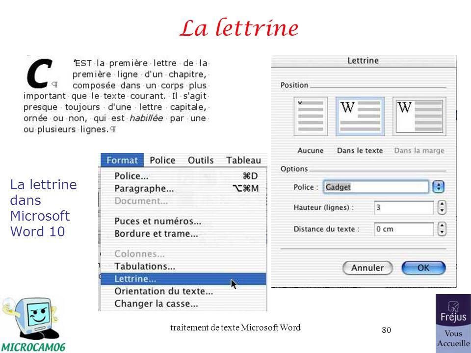 La lettrine La lettrine dans Microsoft Word 10