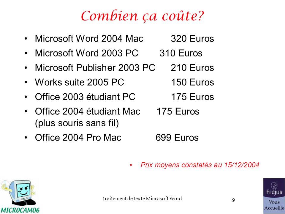 Combien ça coûte Microsoft Word 2004 Mac 320 Euros