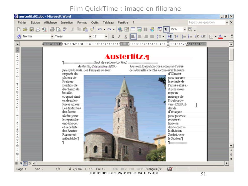 Film QuickTime : image en filigrane