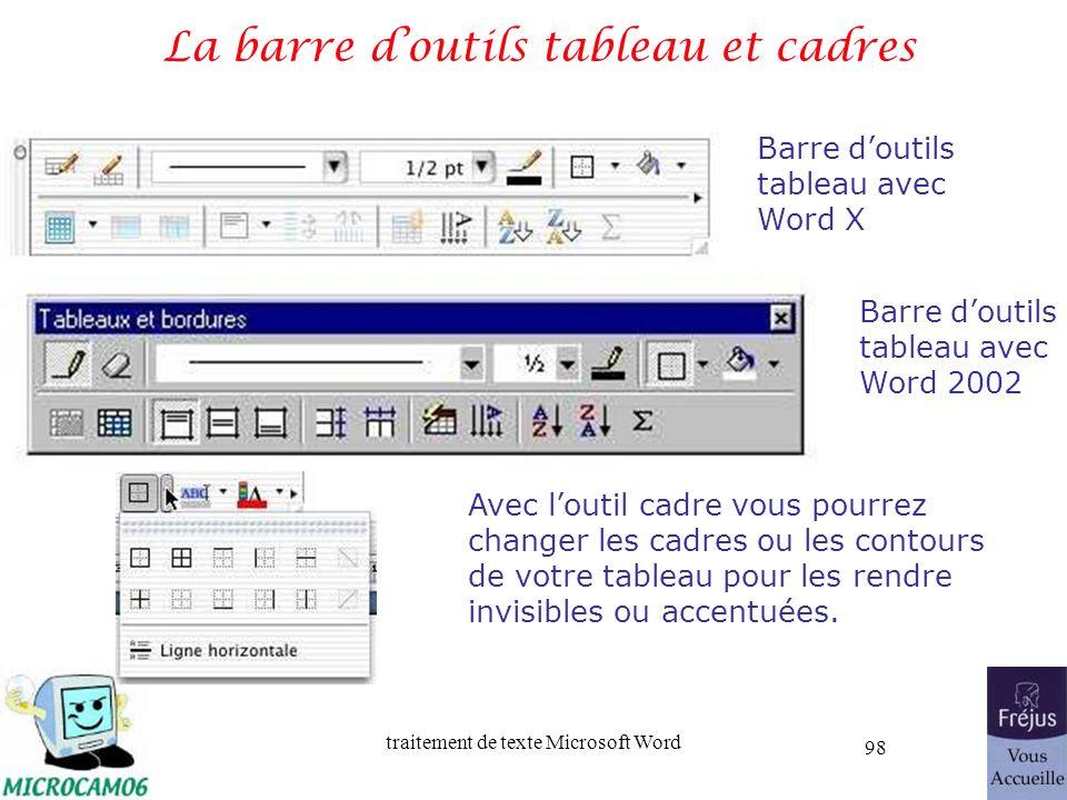 La barre d'outils tableau et cadres