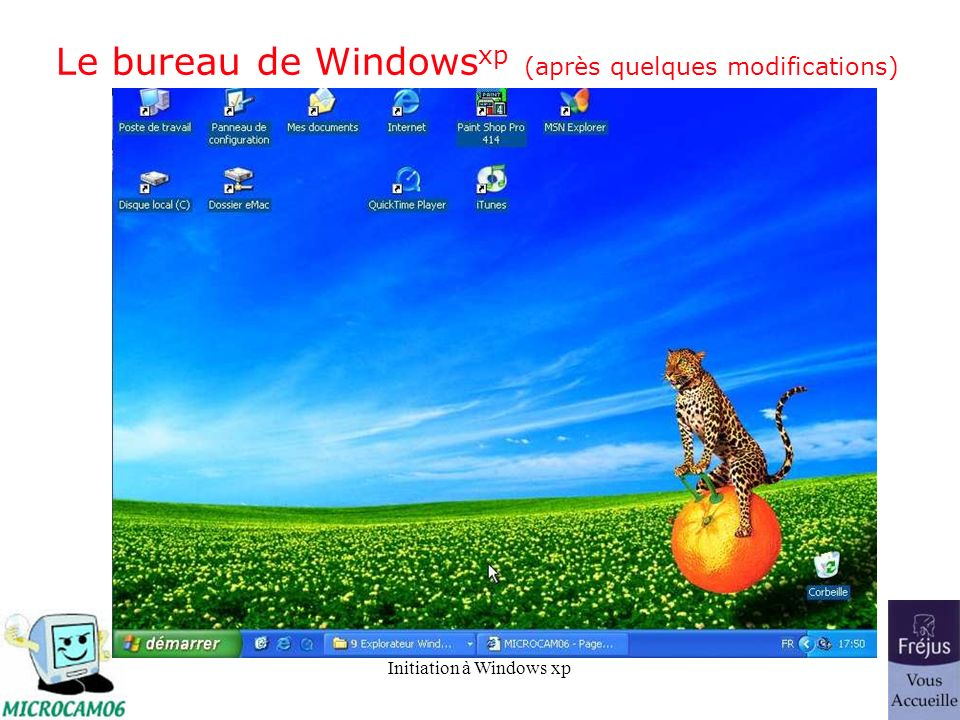 Le bureau de Windowsxp (après quelques modifications)
