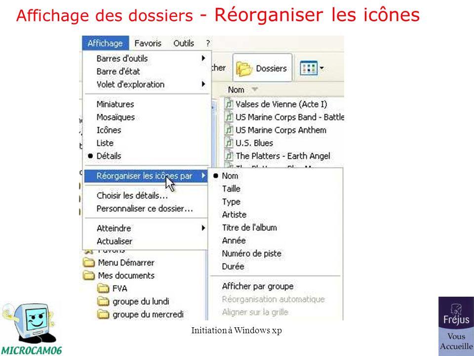Affichage des dossiers - Réorganiser les icônes