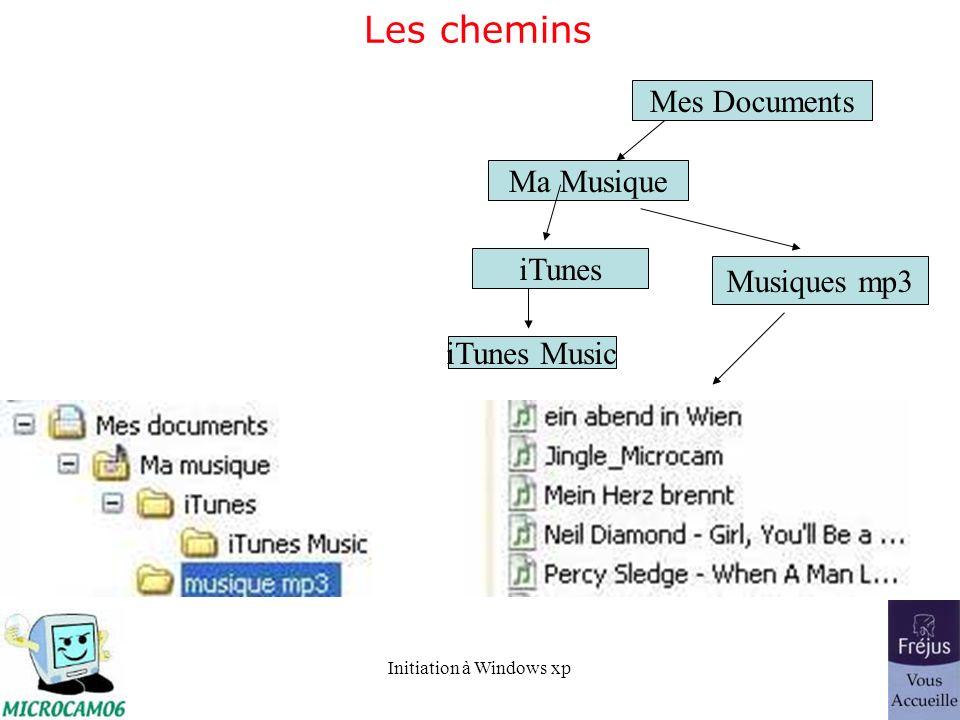 Les chemins Mes Documents Ma Musique iTunes Musiques mp3 iTunes Music
