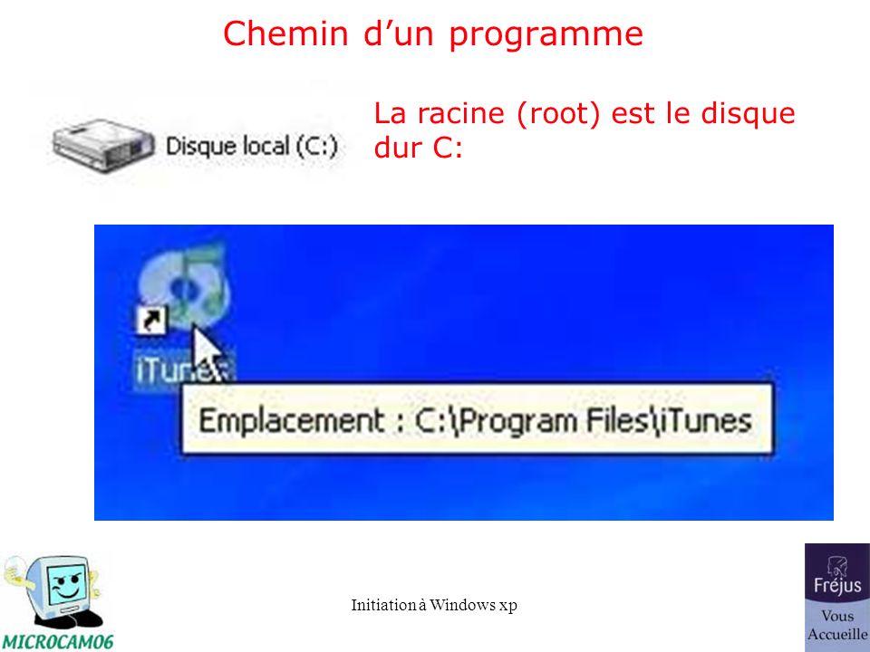 Chemin d'un programme La racine (root) est le disque dur C: