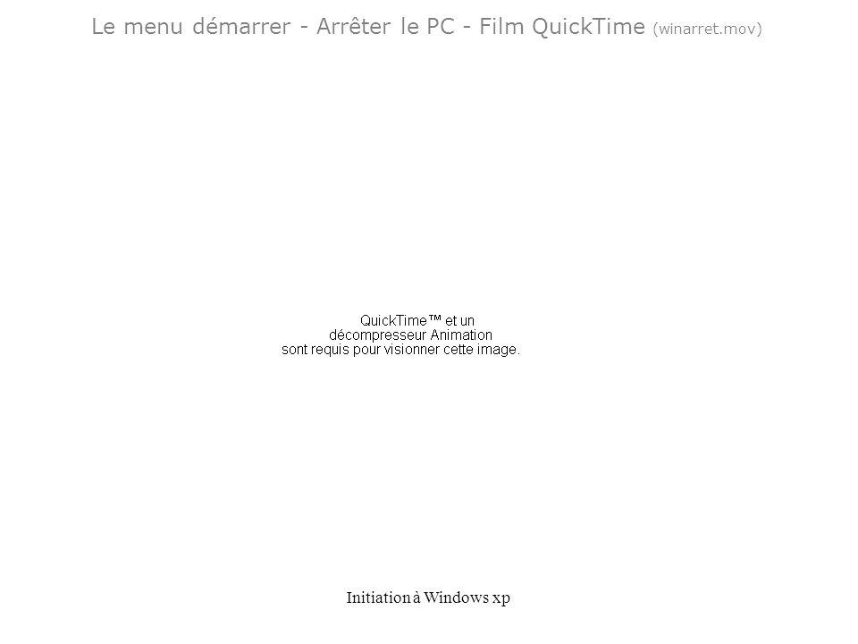 Le menu démarrer - Arrêter le PC - Film QuickTime (winarret.mov)
