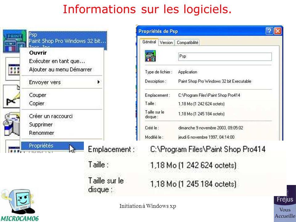 Informations sur les logiciels.