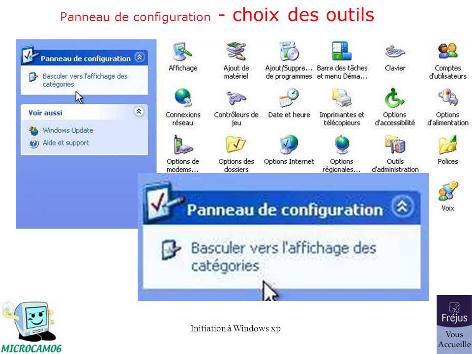 Panneau de configuration - choix des outils