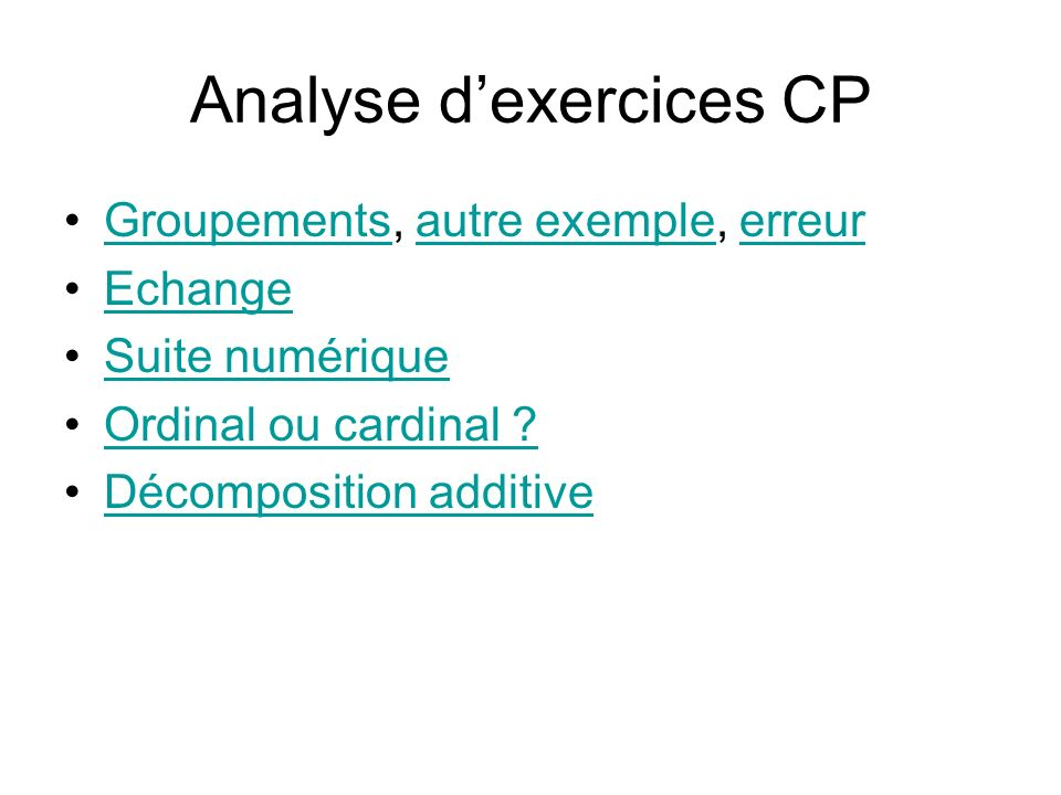 Analyse d'exercices CP