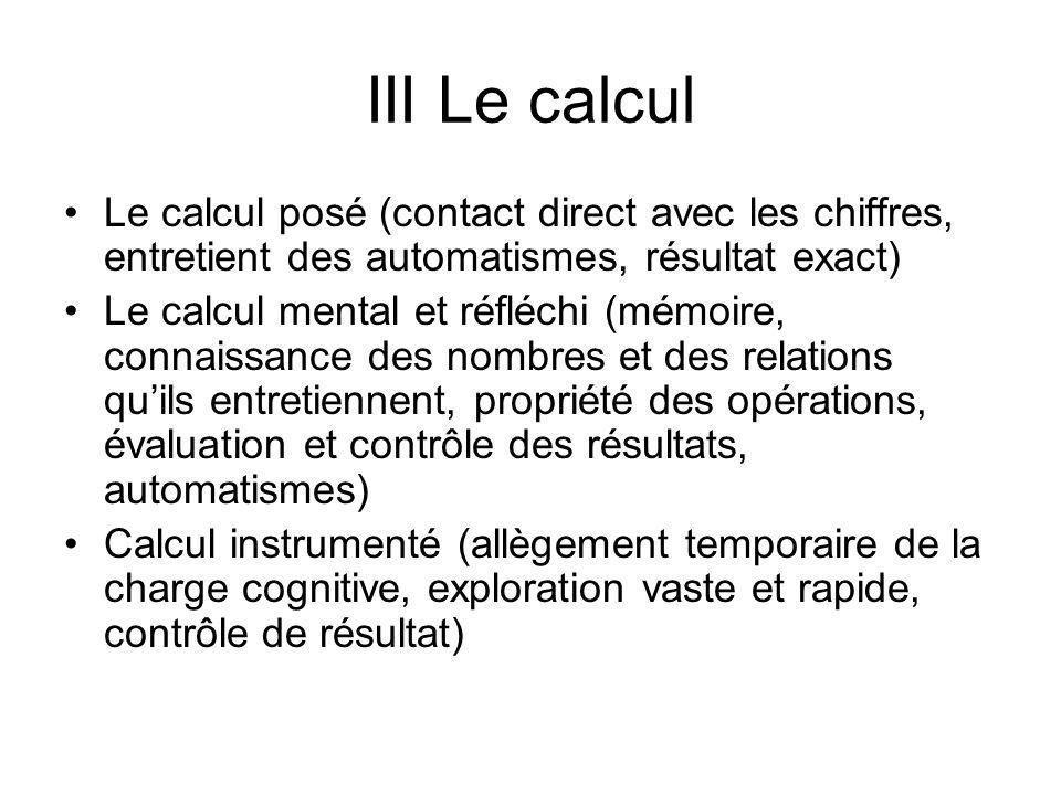III Le calcul Le calcul posé (contact direct avec les chiffres, entretient des automatismes, résultat exact)