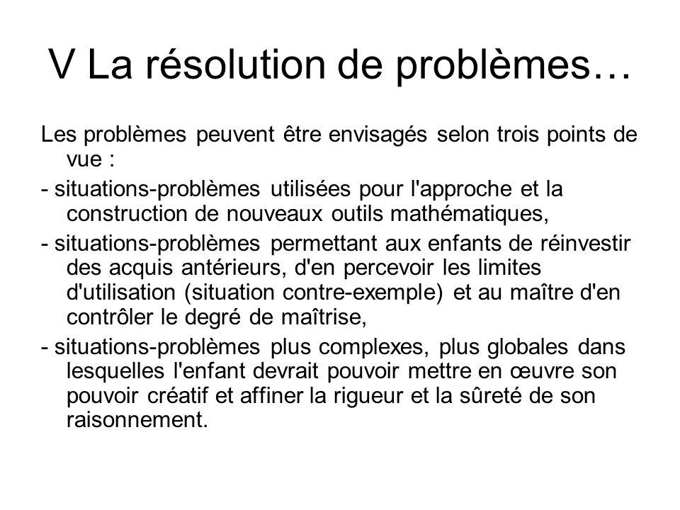 V La résolution de problèmes…