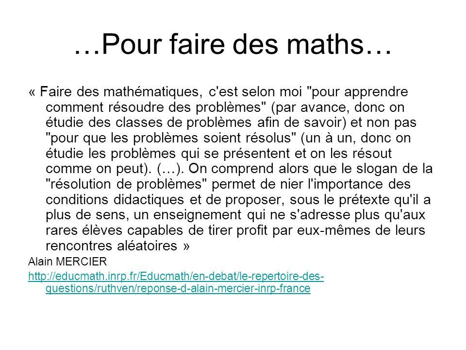 …Pour faire des maths…
