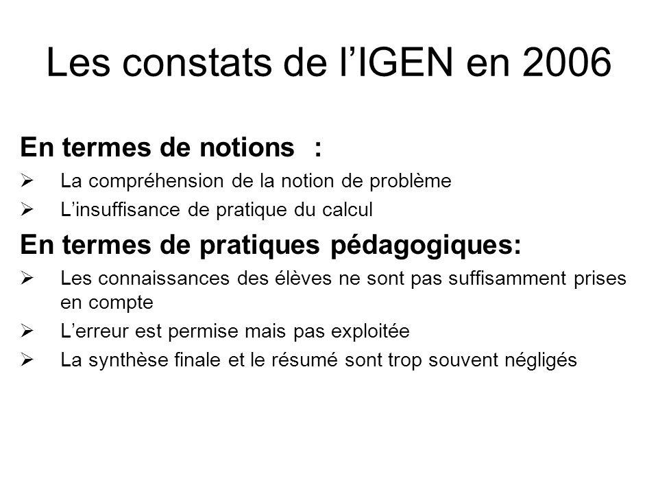 Les constats de l'IGEN en 2006