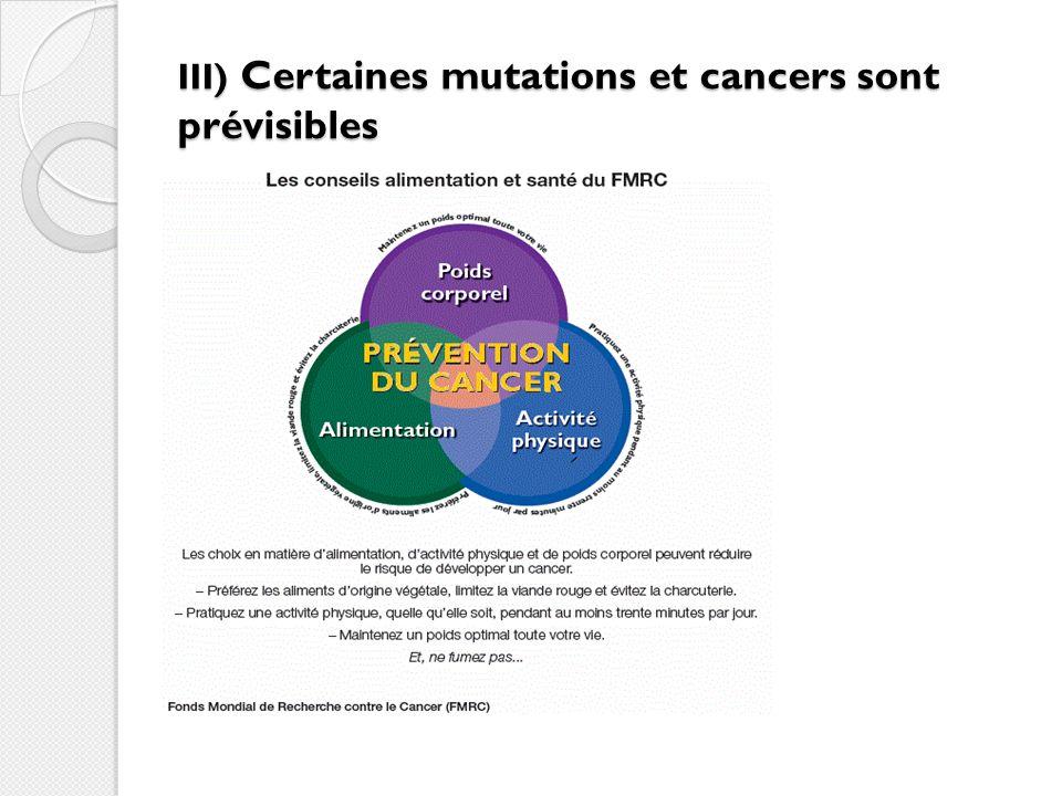 III) Certaines mutations et cancers sont prévisibles